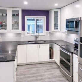 White Kitchen with a splash of purple