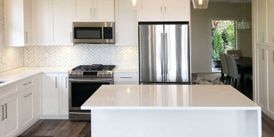 White on White Kitchen Cabinet and Countertop